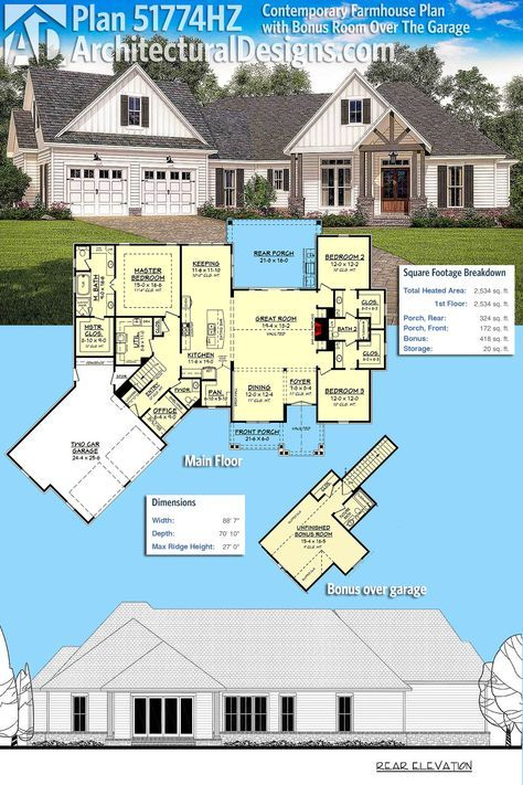 Plan 51774HZ: Contemporary Farmhouse Plan with Bonus Room Over The ...
