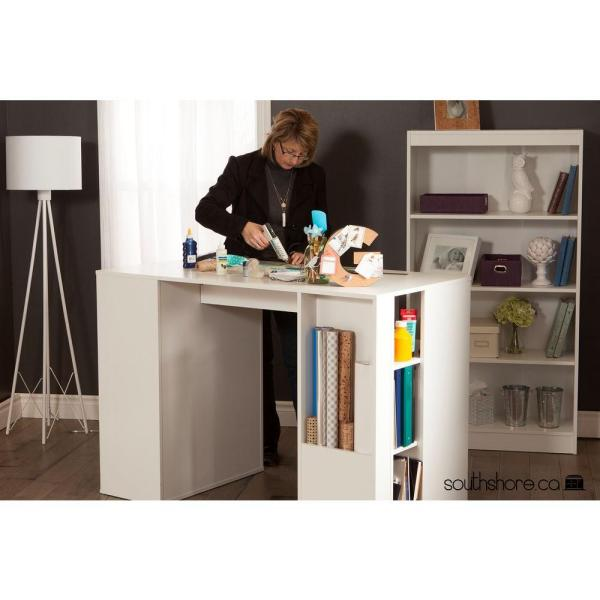 South Shore Crea Pure White Counter Height Craft Table With Storage 7550729 The Home Depot Craft Tables With Storage Craft Table Storage Cabinet With Drawers