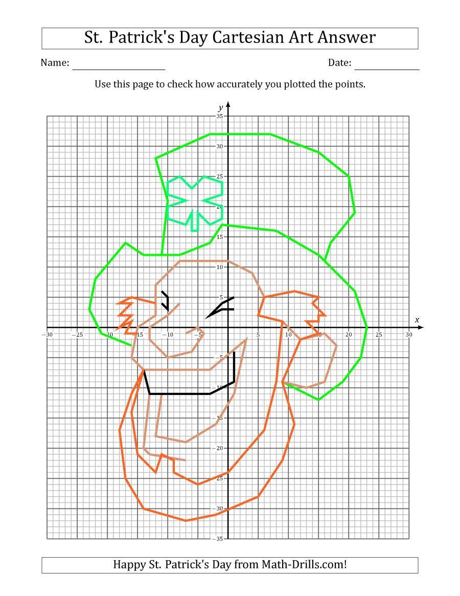 Worksheets Face Math Worksheets the st patricks day cartesian art leprechaun face math worksheet from patricks