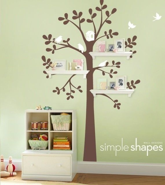 new shelving tree with birds large kids vinyl wall sticker decal art - Simple Shapes Wall Design