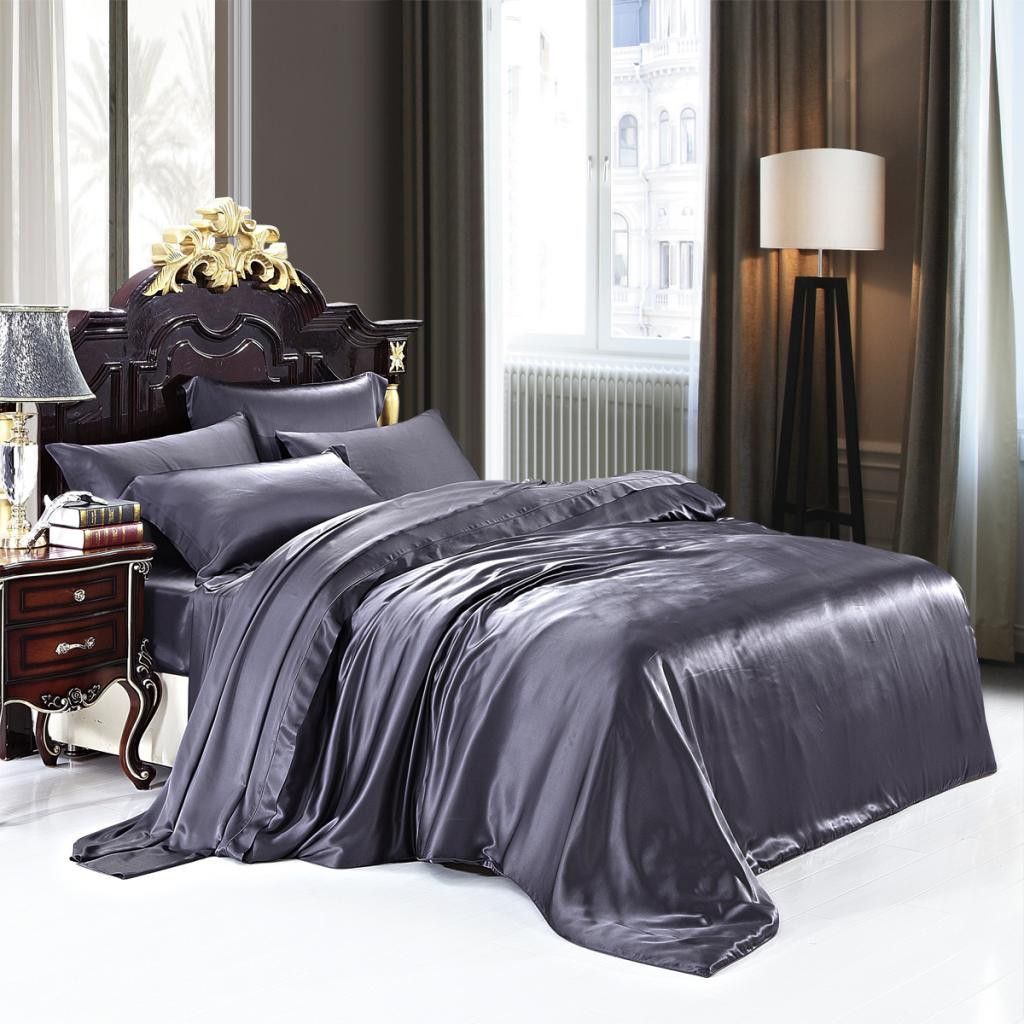 19 Momme Deep Grey Luxuer 7 Pieces Silk Bedding