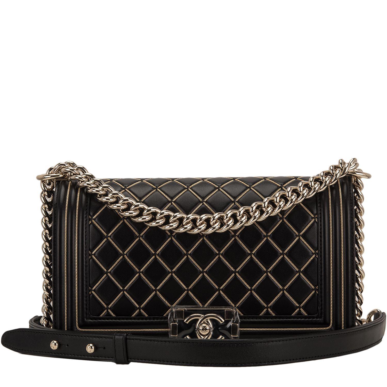 3dcc90b5af7 Chanel Black Lambskin Chain Quilted Medium Boy Bag