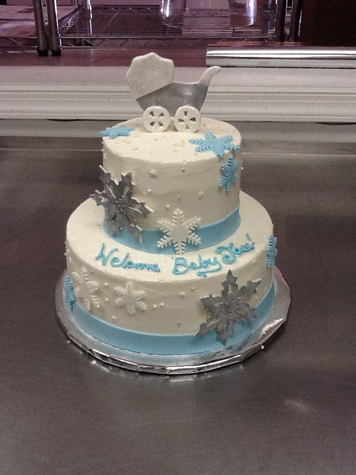 Wonderful Snowflake Themed Baby Shower Cake.