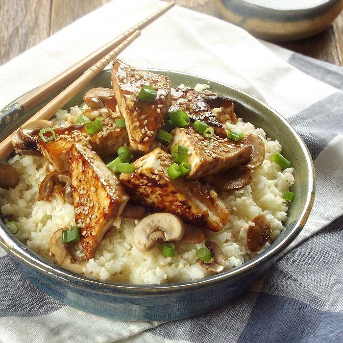 35 Mouthwatering Mushroom Recipes: Hoisen Tofu With Mushrooms + Cauliflower Rice.