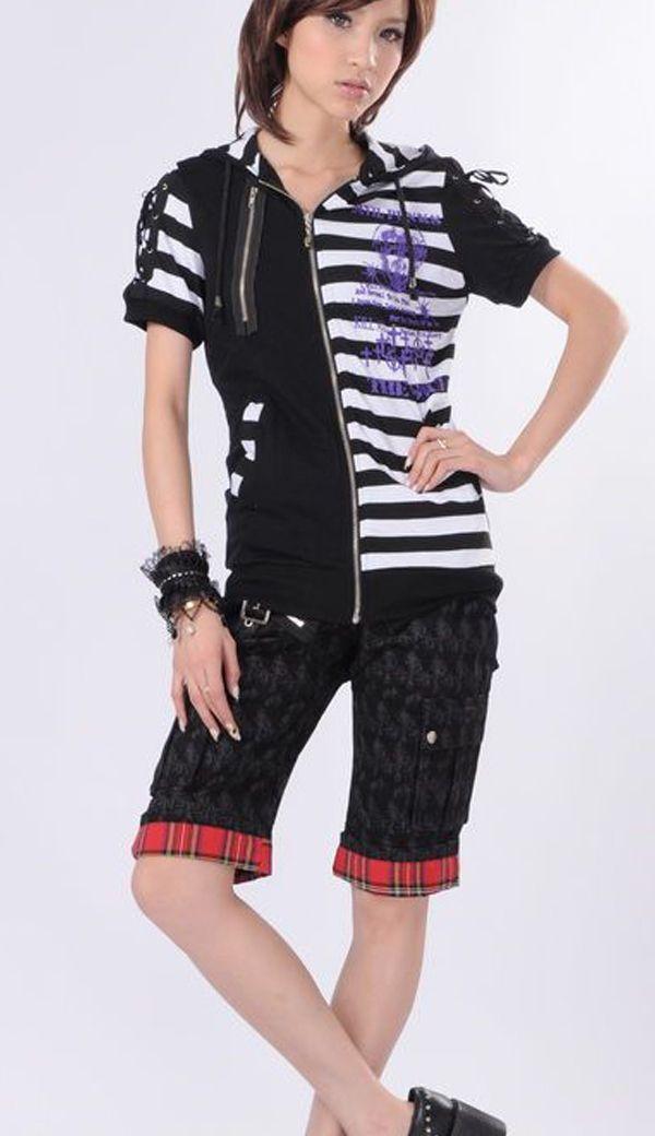 GLP: Black denim knee length punk shorts with tartan hem