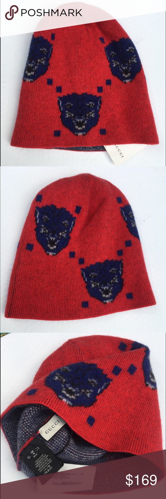 New Gucci Men s Angry Cats Wool Beanie Authentic NWT Gucci Wool Beanie. The  tags are on it and attached. But no box. 100% Wool. Very thick lined. d9113c8e1ad0