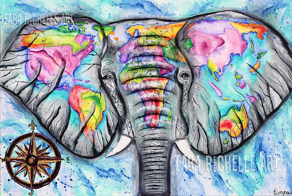 Wanderlust elephant painting world map vintage map travel art wanderlust elephant painting world map vintage map travel art one love watercolor map abstract map compass gumiabroncs Gallery