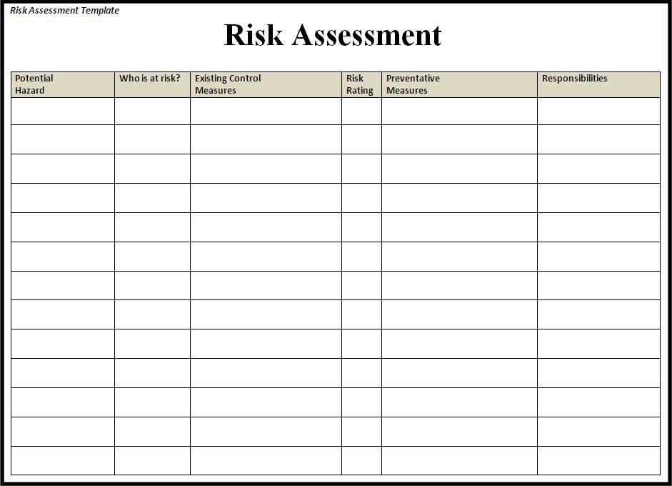 Image Result For Risk Assessment Template  School