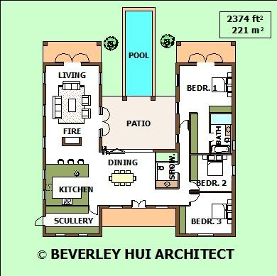 H shaped house plans with pool in the middle cape for House plan companies