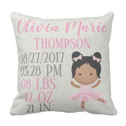 African american pink ballerina ballet dance birth throw pillow negle Choice Image