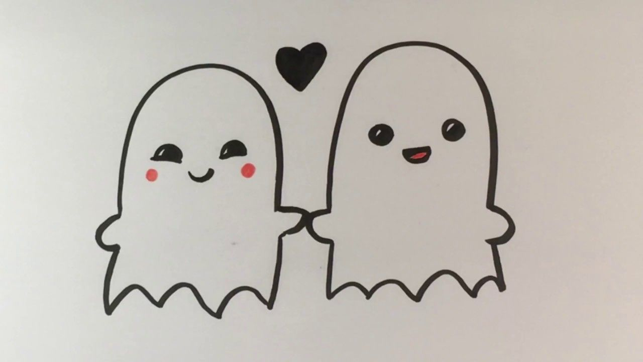 How To Draw Ghosts In Love Cute Halloween Drawings Sometimes