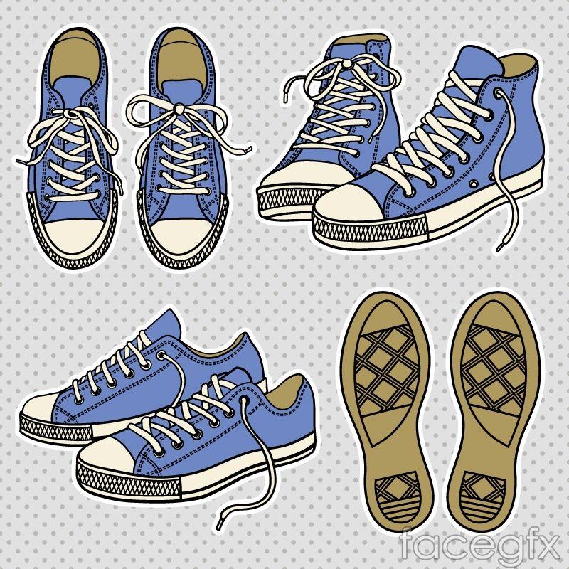 Cartoon sneakers design vector