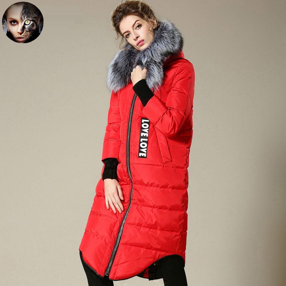 MissFoFo 2016 Новый Пуховик Мода Жакет Сплошной Цвет Натуральный Мех длинные прямые женский с капюшоном меховой воротник вниз пальто верхняя одежда купить на AliExpress