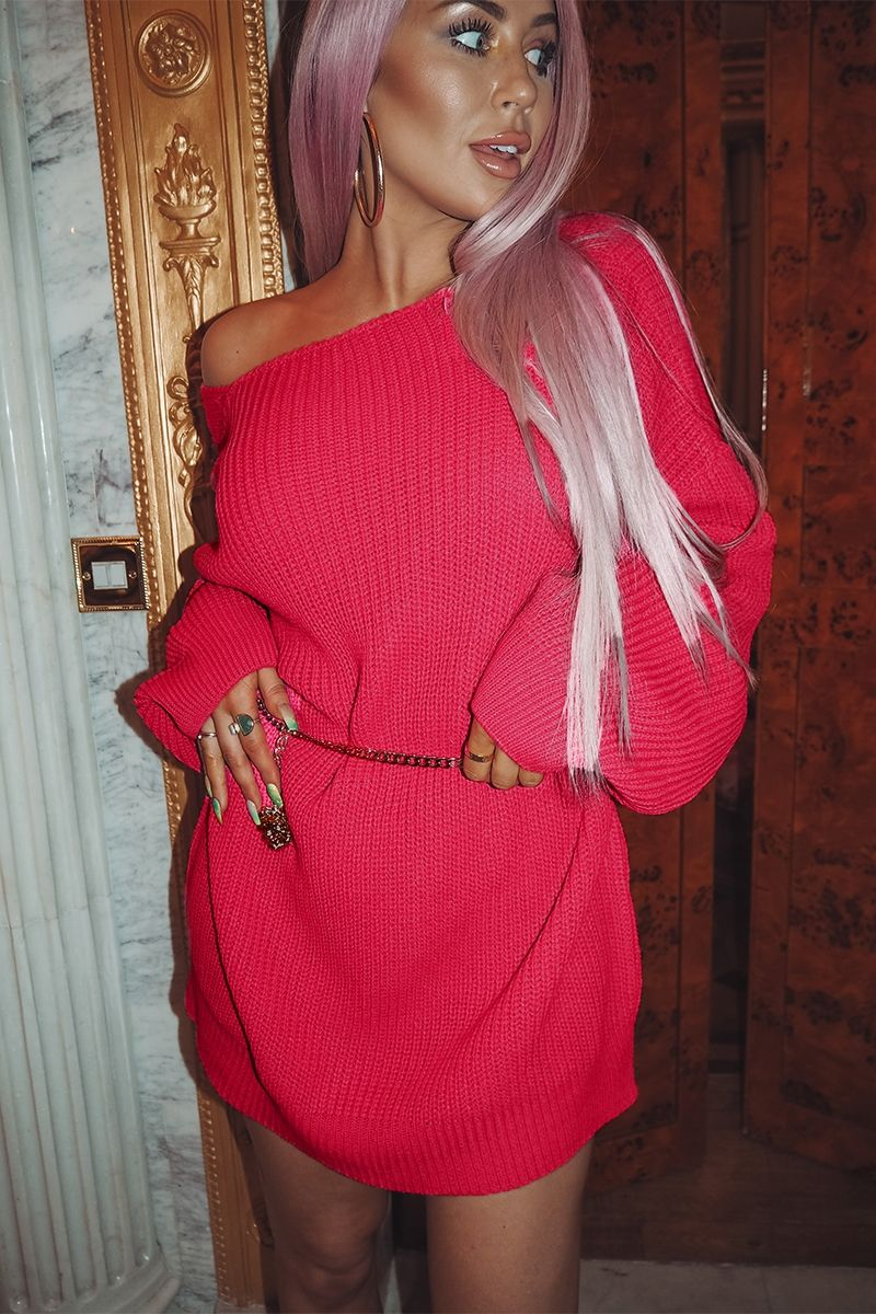 18784bc97a Pink Dresses - Cc Clarke Hot Pink Oversized V Neck Jumper Dress ...