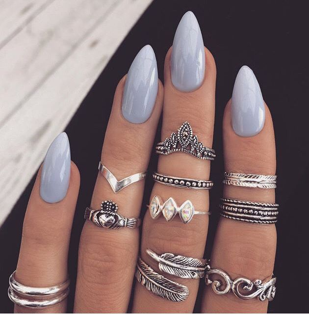 Baby Blue Almond Shape Nails