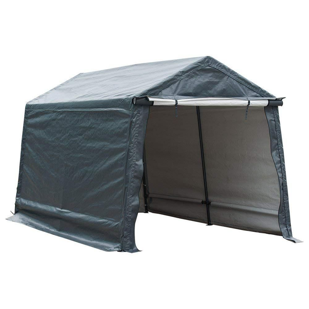Abba Patio Storage Shelter 8 Ft X 14 Ft Grey Outdoor Shed Heavy Duty Canopy Apssd814gw The Home Depot In 2020 Storage Shelters Car Shelter Patio Storage
