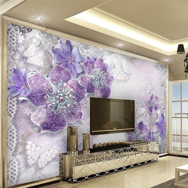 pas cher personnalis photo papier peint 3d violet bijoux fleur fond mur salon chambre mural. Black Bedroom Furniture Sets. Home Design Ideas