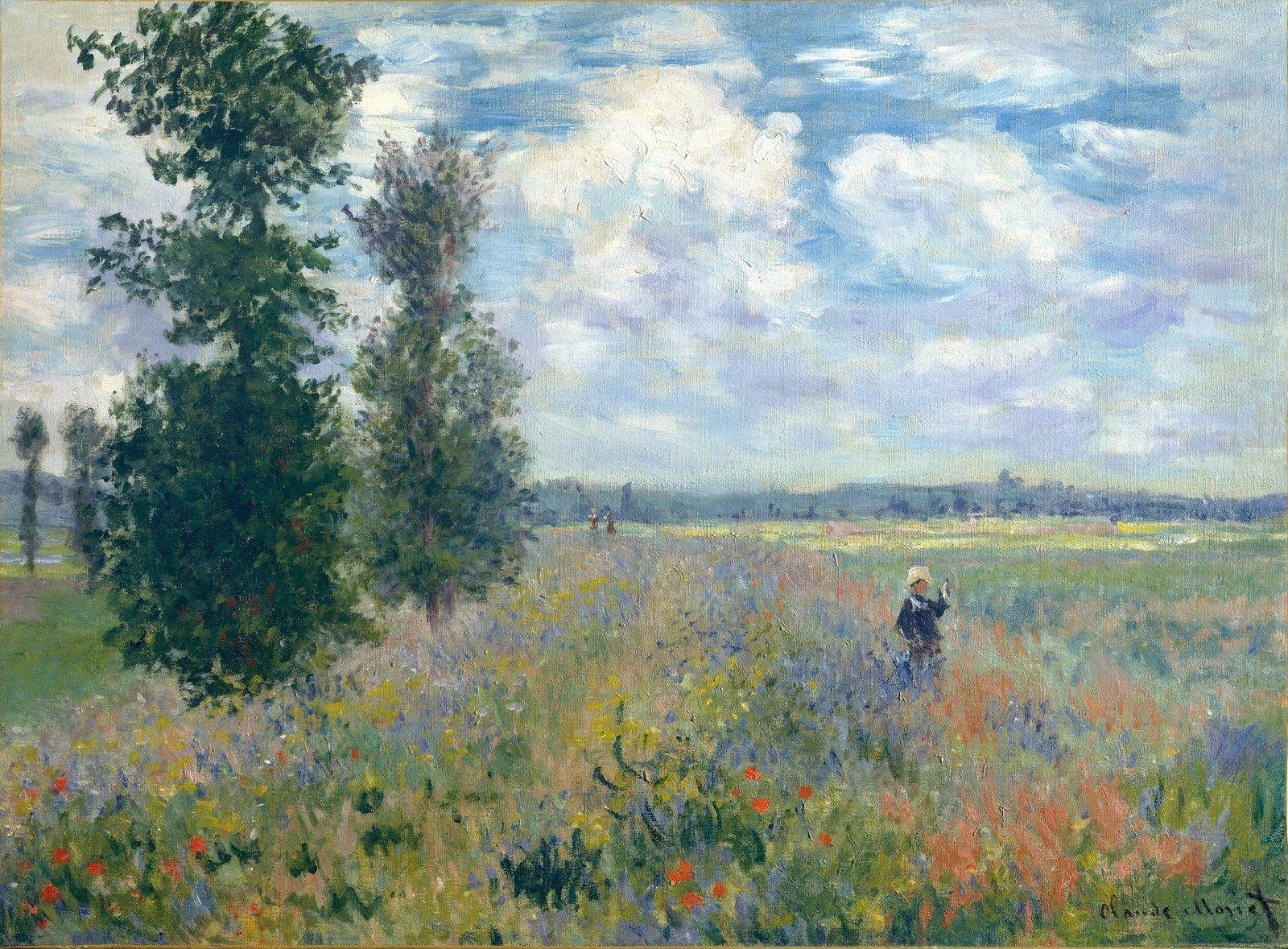 Poppy Field, Argenteuil, 1875 | Рисунки пейзажей, Импрессионист, Моне