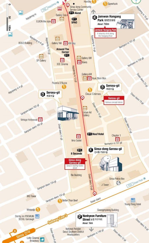 Sinsadong and Garosugil map Maps Pinterest Seoul South
