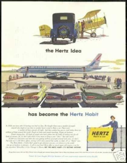 United Airlines DC-8 Vintage Print Ad 1959 Hertz Rent-a-Car
