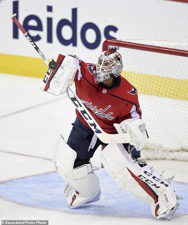 2707d68db8e Washington Capitals goalie Braden Holtby stops the puck during the third  period of an NHL hockey game against the Ottawa Senators