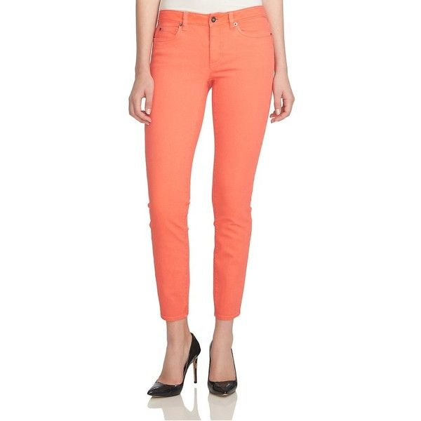 CeCe by Cynthia Steffe Colored Stretch Skinny Jeans ($99) ❤ liked on Polyvore featuring jeans, coral pop, super stretch skinny jeans, stretch denim skinny jeans, skinny jeans, red stretch jeans and stretch skinny jeans