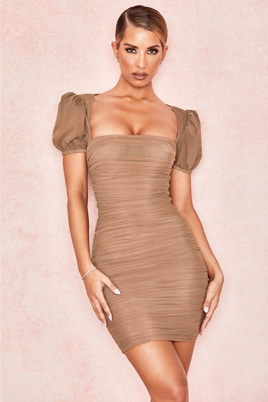 Tan Puff Sleeve Ruched Dress Luxepartydress Bodycon Dress Puff Sleeve Dresses Ruched Dress [ 1350 x 900 Pixel ]