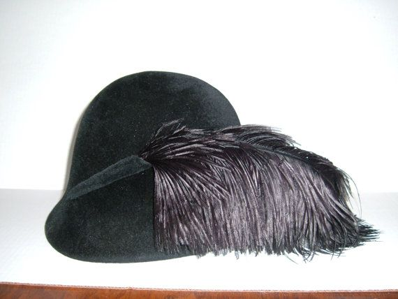 2aa812242ac4b6 Vintage 1960's Frank Olive Black Cloche Hat by MumzysTreasures, $35.00
