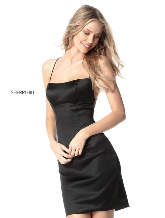 Sherri Hill Prom Dresses 2017 - Black satin spaghetti | Sherri Hill ...
