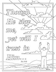 Printable Bible Verse Coloring Page For Job 13 15 Though He Slay
