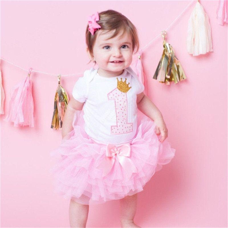 Baby Mädchen 1 Erster Geburtstag Kleid Overall Tüllrock Stirnband Kuchen Sets