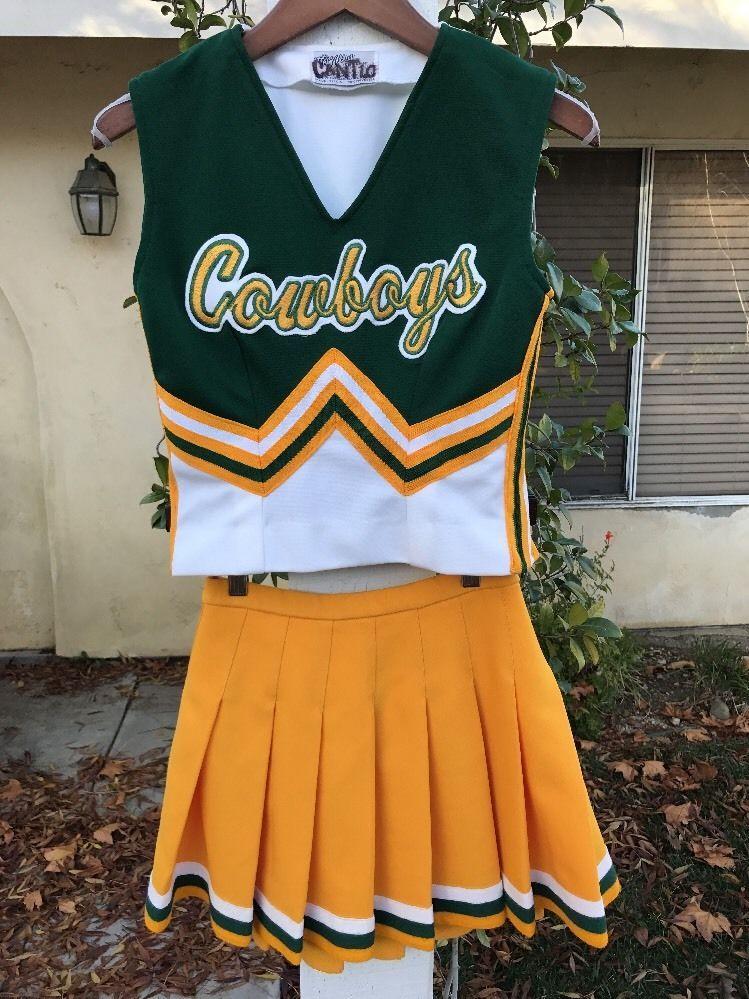 64764cb9580 Vintage 90 s Cowboys Cheerleading Yellow White Small Uniform Cheer Skirt
