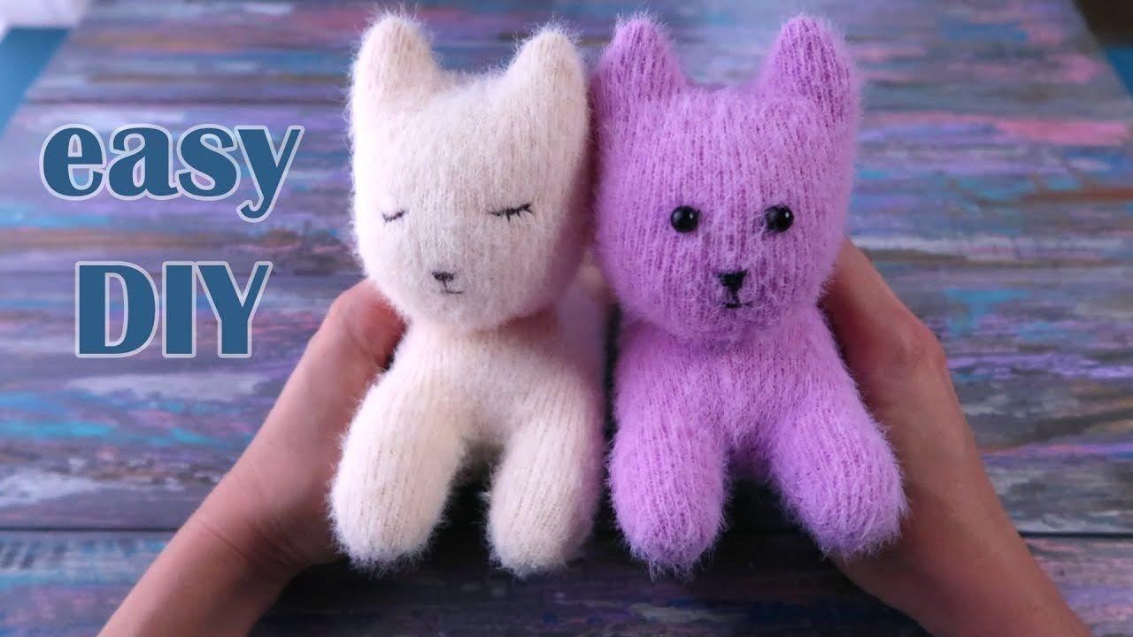 Sock kitten DIY tutorial. Sock toys for kids easy
