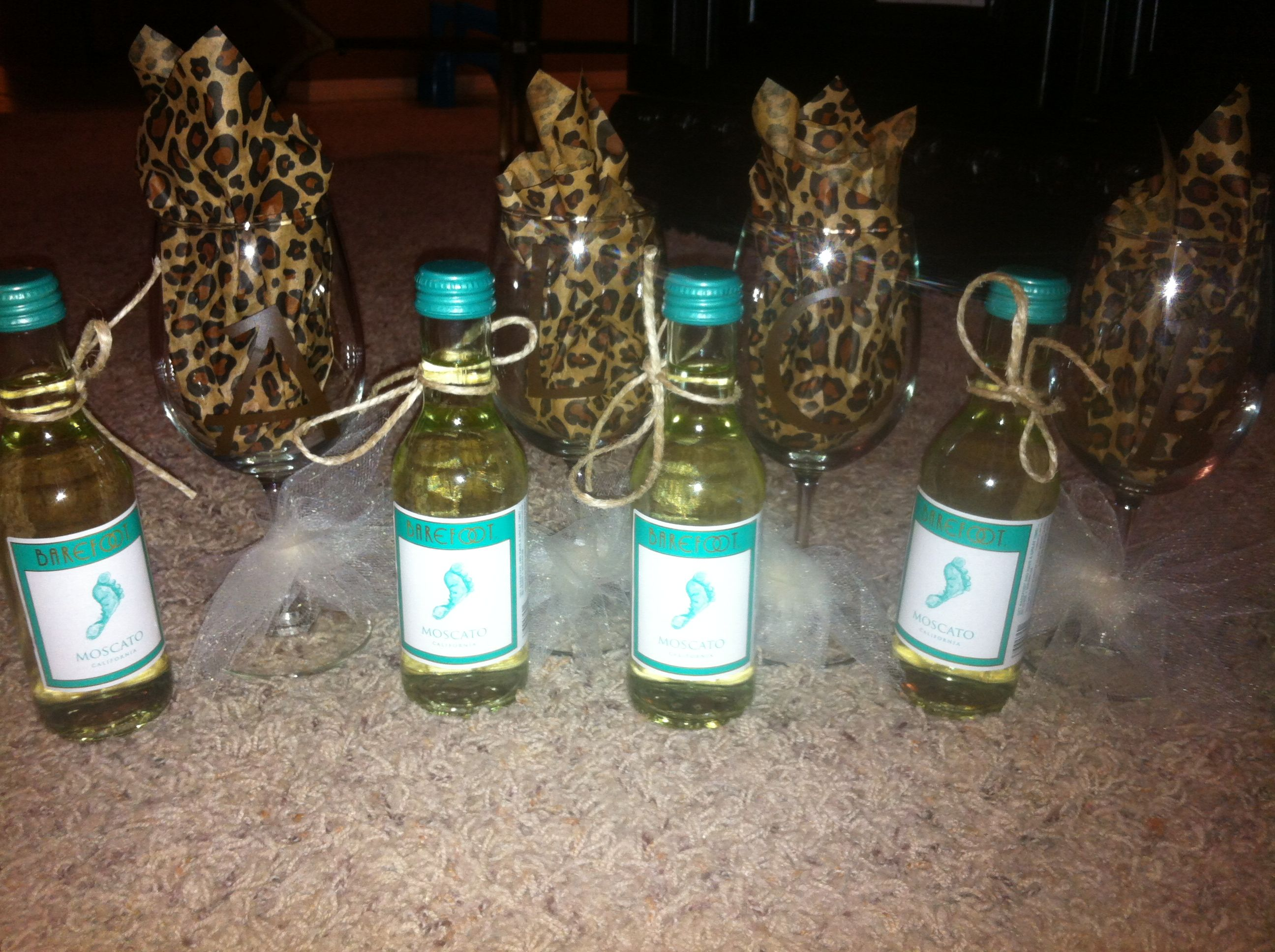 Hostess Monogrammed Wine Glass With Mini Barefoot