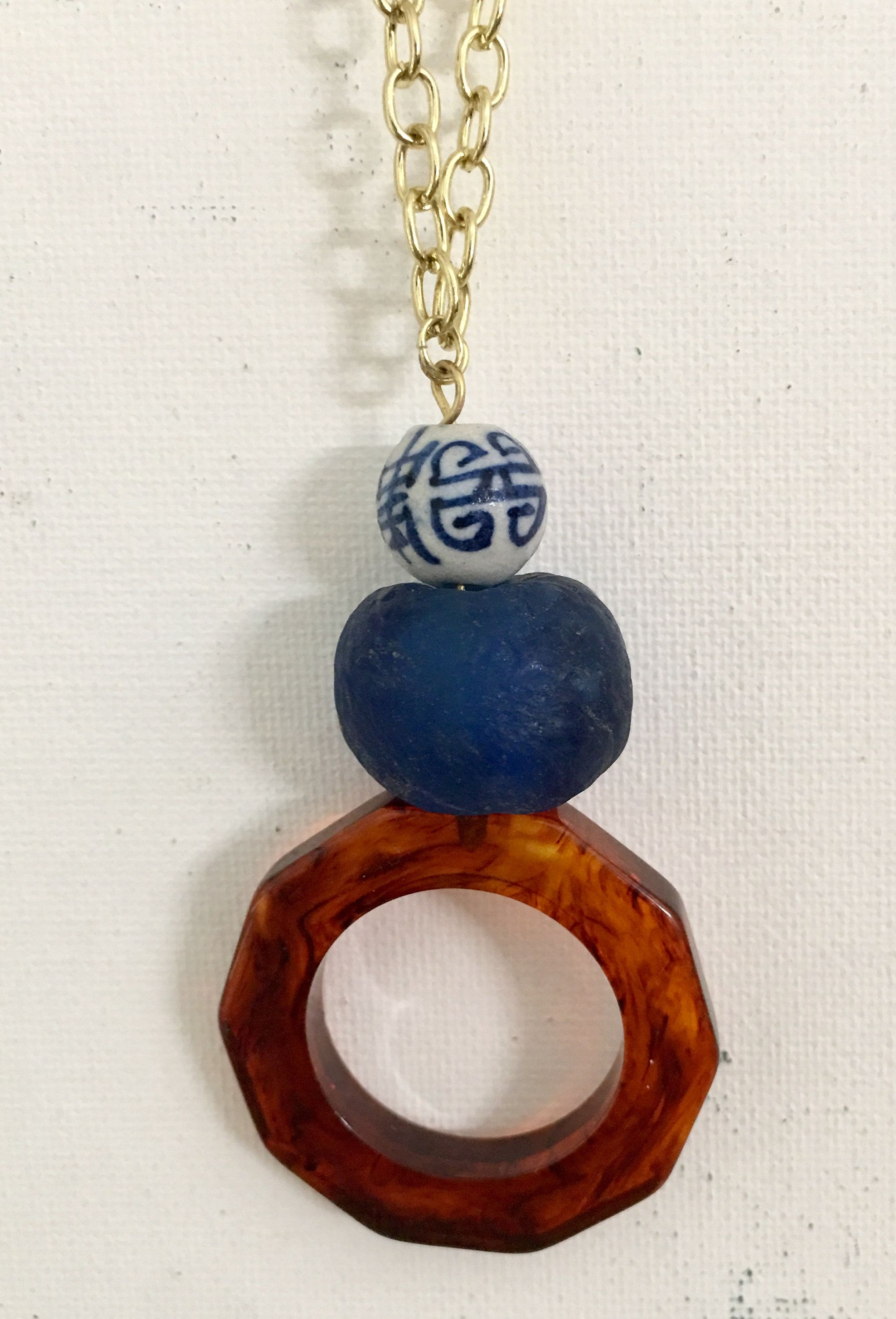 Long tortoise shell pendant necklace inspired by j crew and