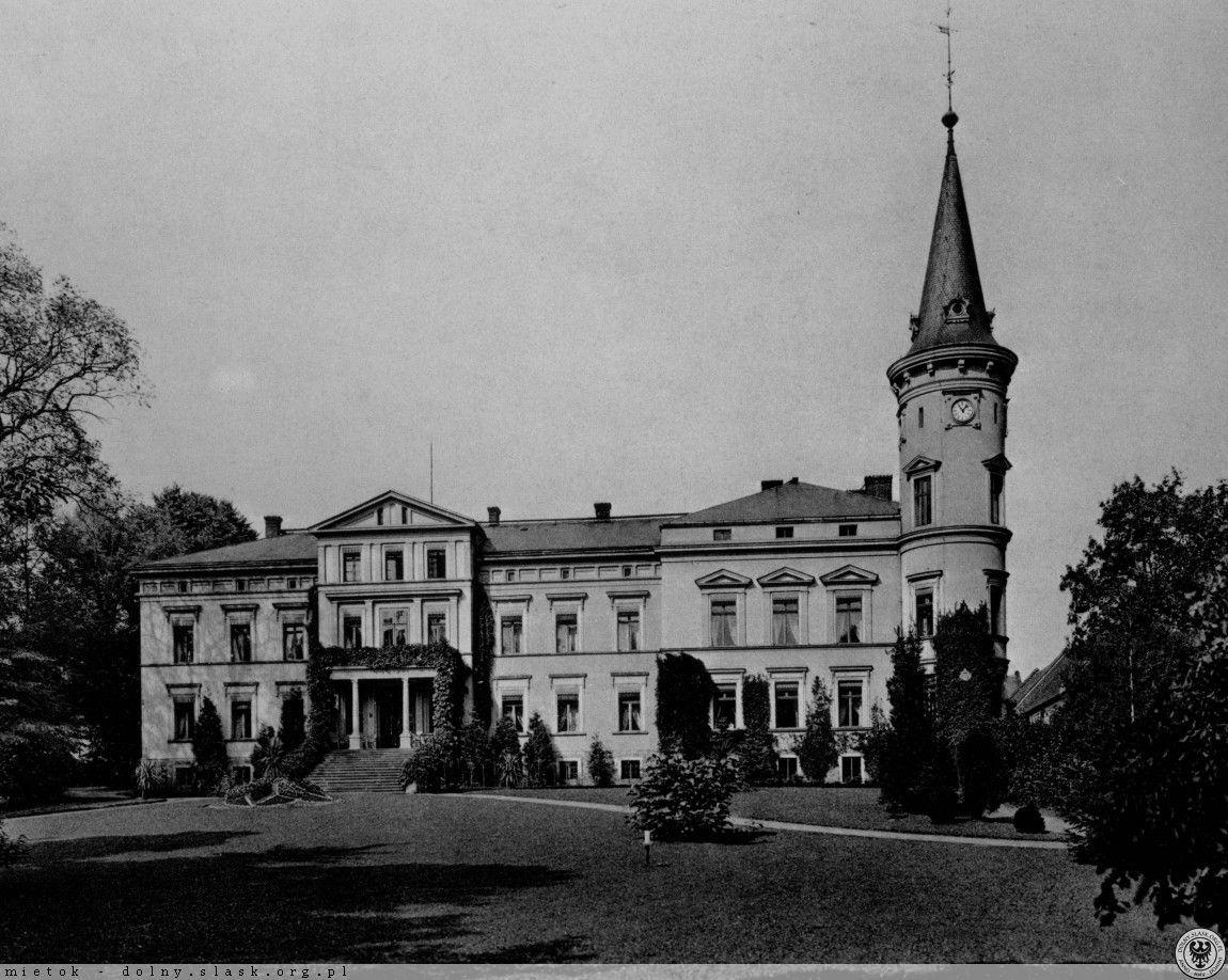 Schloss Petersdorf (Piotrówek), Schlesien, um 1900.