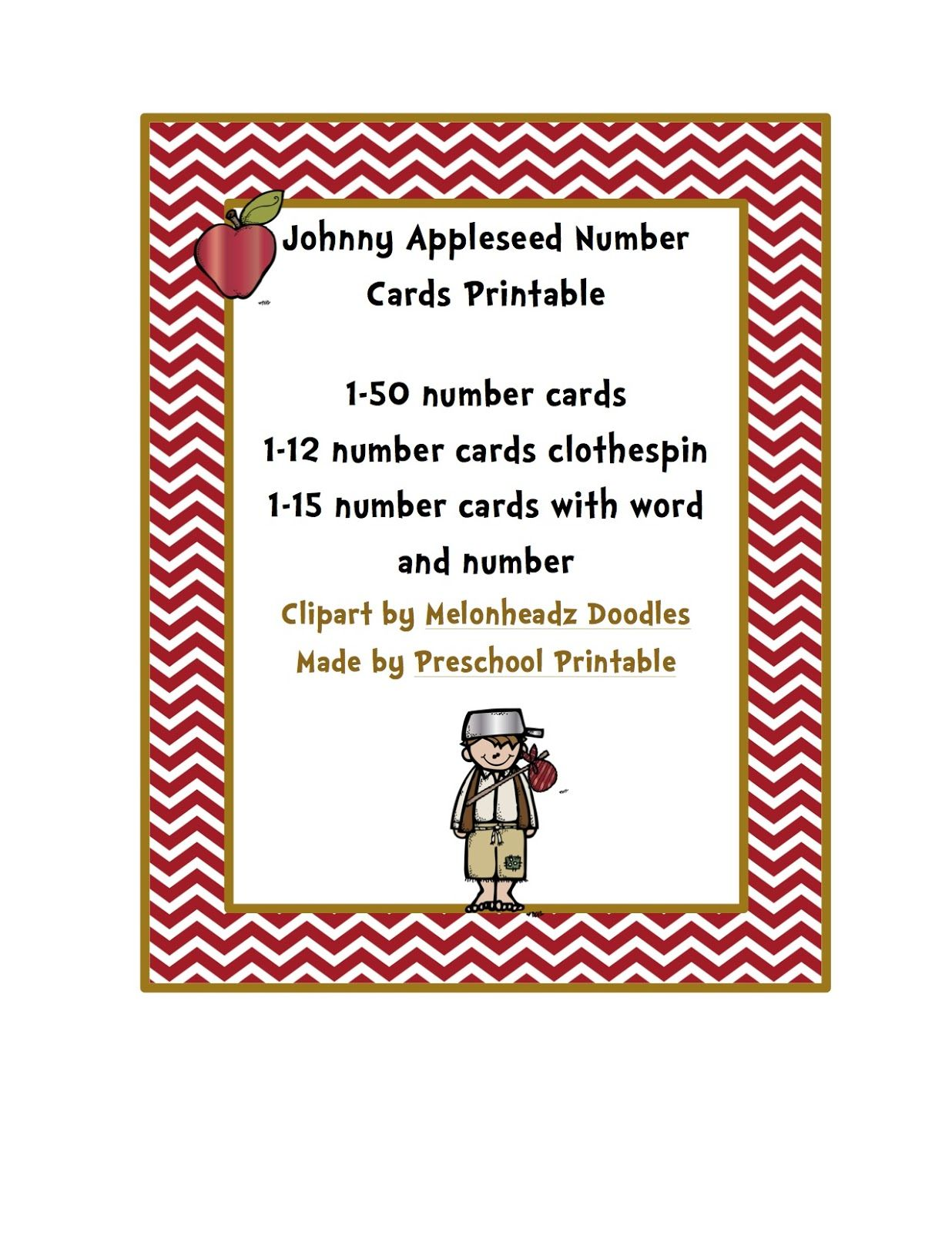 Johnny Appleseed Number Cards