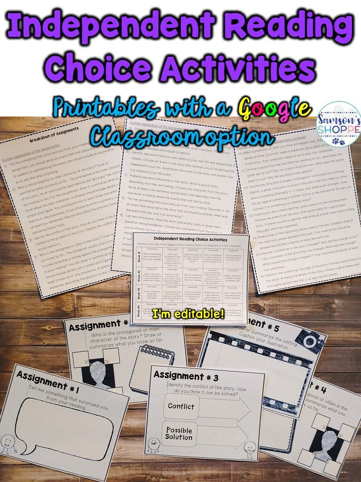 Independent Reading Choice Menu Calendar Worksheets And For Google