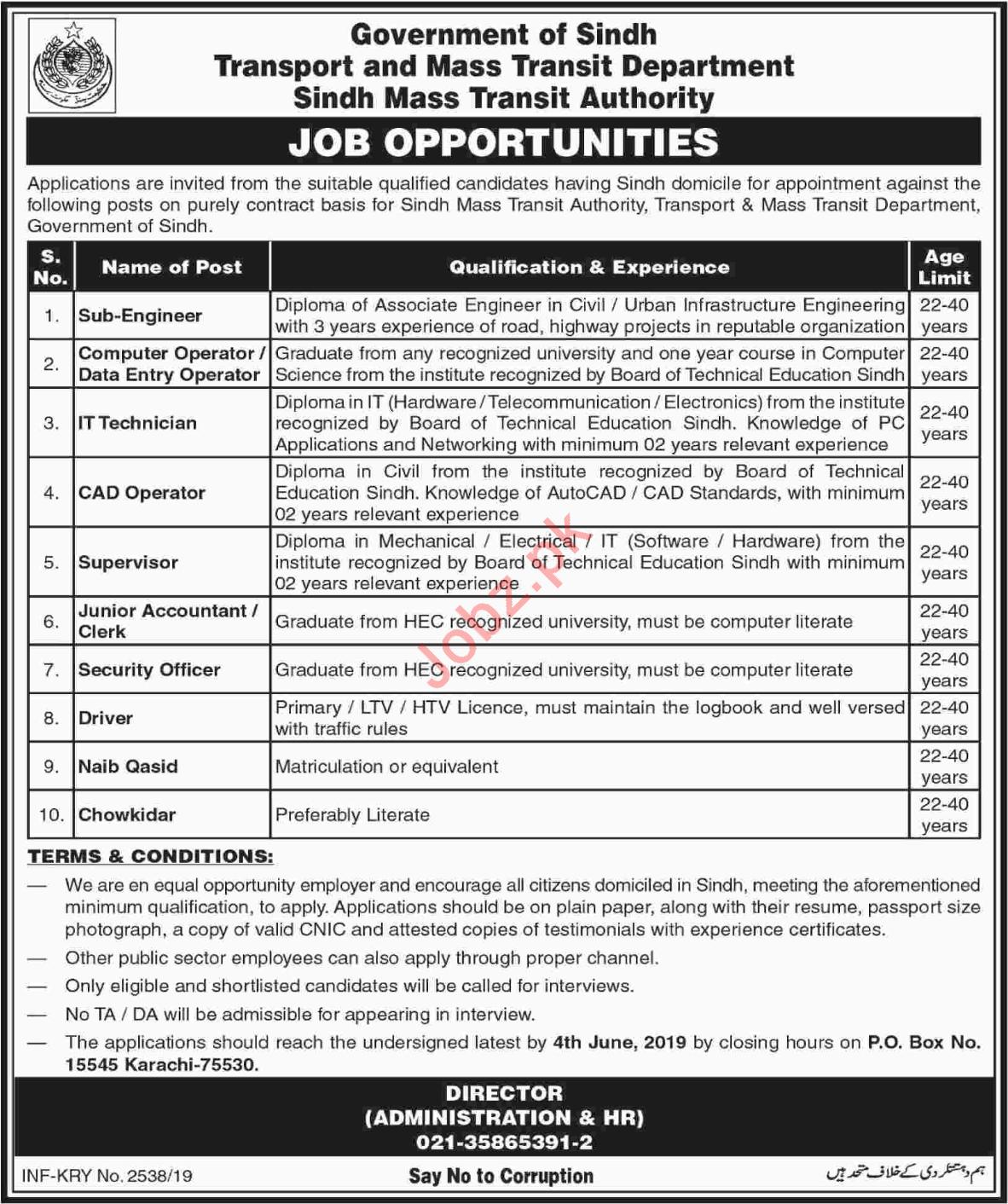 Jobs In Transguard & Mass Transit Department Sindh 16 May
