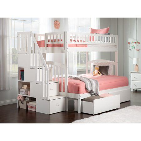 Westbrook Staircase Bunk Twin Over Full With 2 Urban Bed Drawers