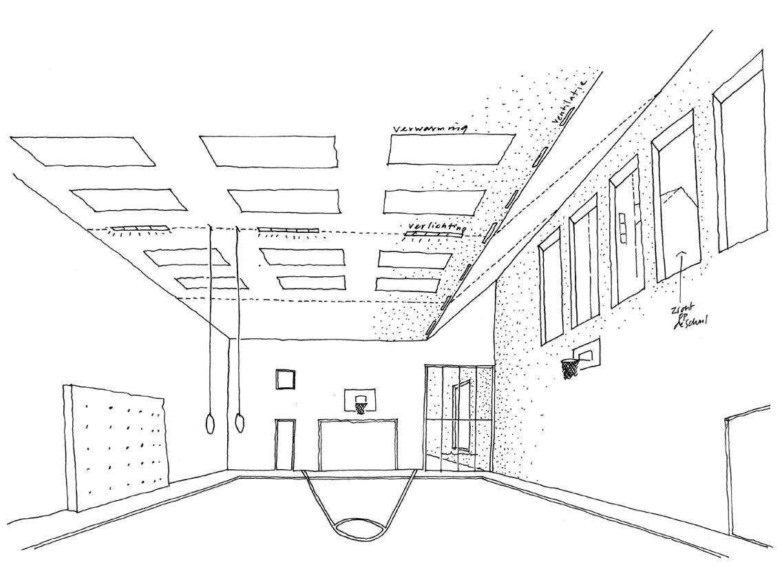 School building · gymzaal tarwewijk sketch of the interior of the gymnasium the gymnasium is located in