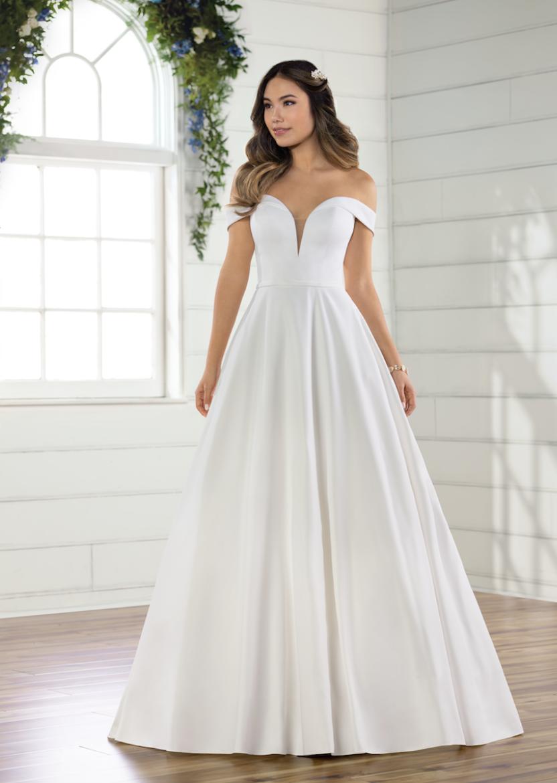 Simple Satin Off The Shoulder Ballgown Kleinfeld Bridal In 2021 Princess Wedding Dresses Short Wedding Dress Wedding Dresses Satin [ 1170 x 832 Pixel ]