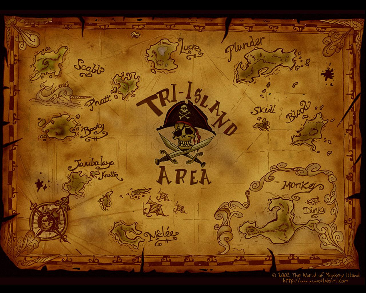 Monkey island 2 lechuck s revenge concept art the international - Map Of The Tri Island Area Harmonizing All The Maps Of It From The Different