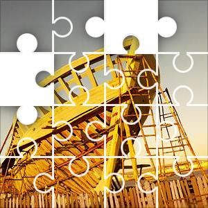 Ship Skeleton Jigsaw Puzzle, 67 Piece Classic. A wooden sailing ship under construction. Not too hard.