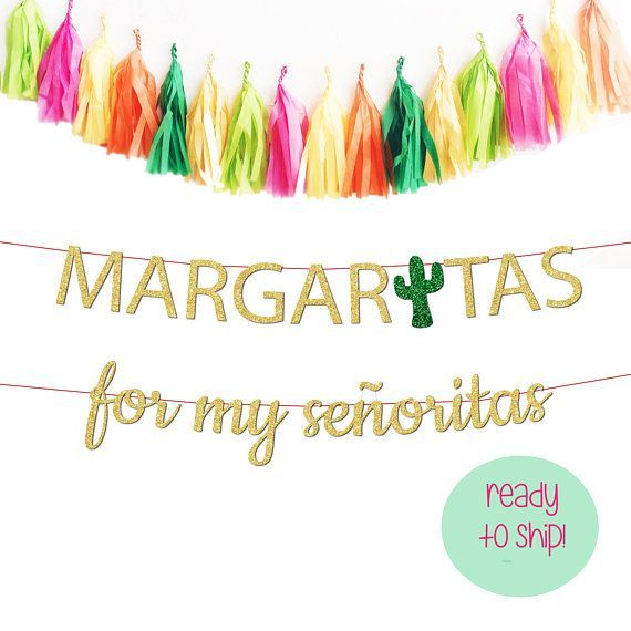 Margaritas with My Senoritas Banner Bachelorette Party Banner, Final Fiesta Banner, Final Fiesta Theme, Cactus Bachelorette Cactus Decor