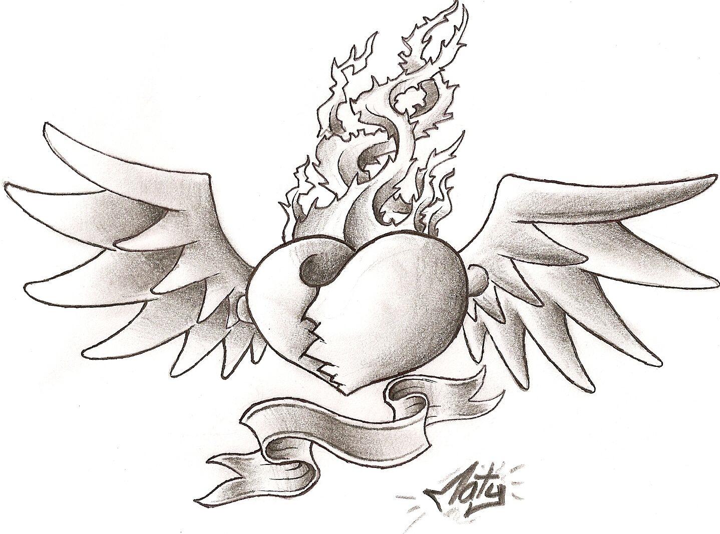 dibujos a lapiz de corazones chidos con alas - Buscar con Google ...