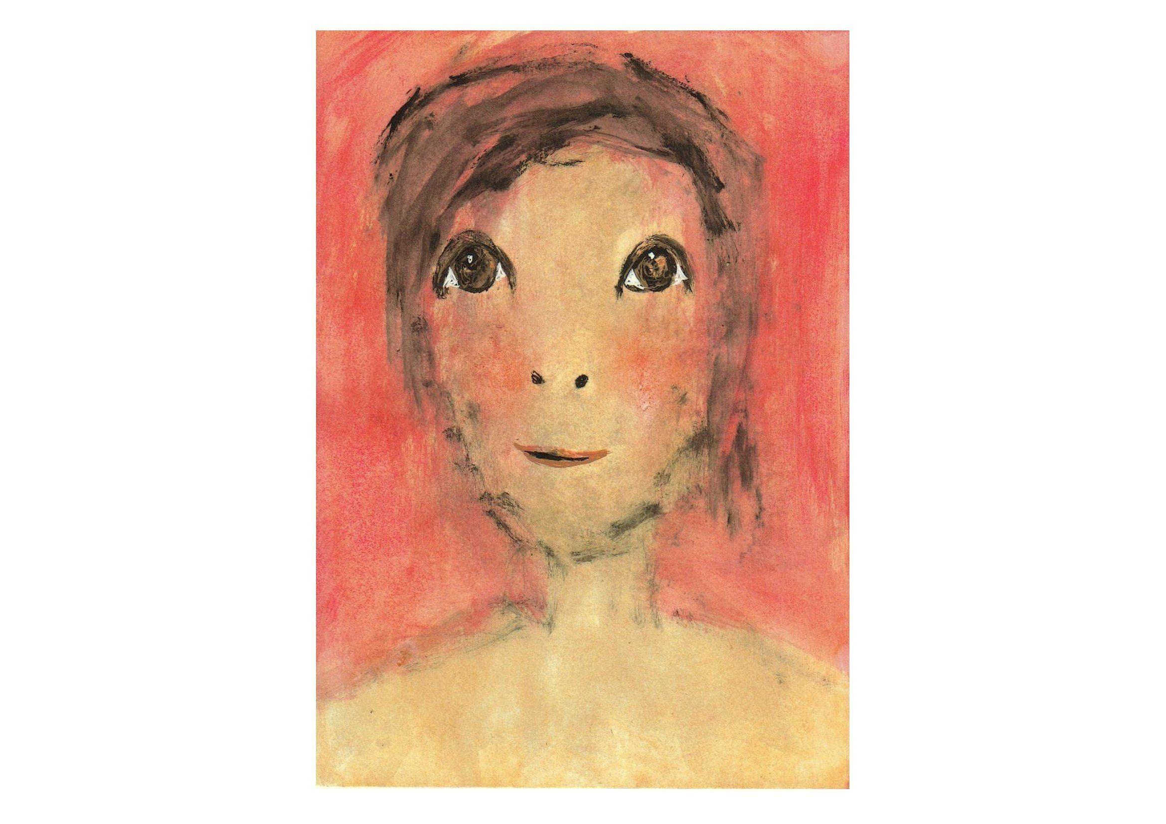 Peinture Portrait Ado Aux Grands Yeux Expressifs Rouge Beige