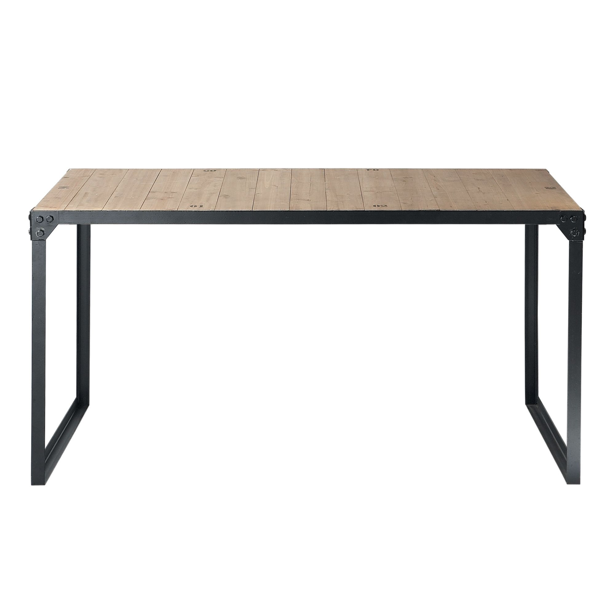 Wood And Metal Industrial Dining Table W 140cm Docks | Maisons Du Monde