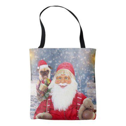 #Santa Claus w Christmas Gifts Pug Dog Tote Bag - #Xmas #ChristmasEve Christmas Eve #Christmas #merry #xmas #family #kids #gifts #holidays #Santa
