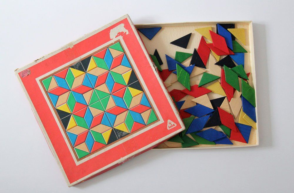 Vintage Wooden Mosaic Tile Puzzle By Toia Made In Etsy Mosaic